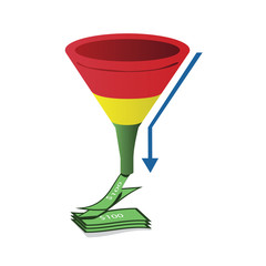 Red, yellow and green sales funnel with arrow