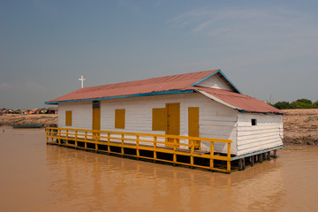 Floating church on the Mekong River, Cambodia