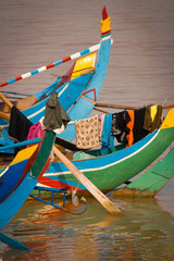 Colorful boat on the Mekong river, Cambodia