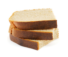 Three slices of rye bread isolated on white background