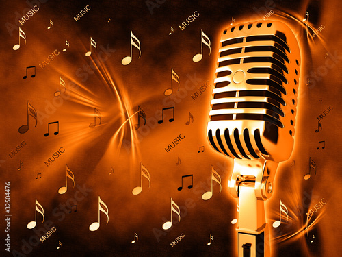Microphone on abstract musical background - 32504476