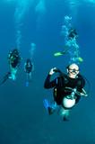 scuba divers decend on a dive site poster