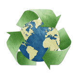 recycled paper craft stick on white background poster
