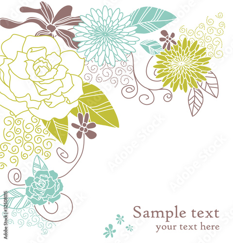Floral wedding card with text