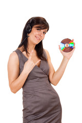 Young lady holding CD and listening to music