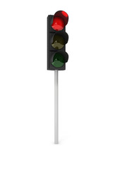 Traffic light  showing red over white background