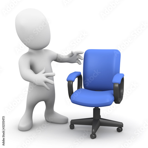 3d Little man offers you his chair