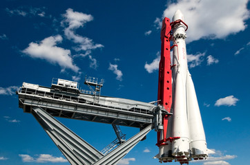 copy of rocket Vostok in All-Russia exhibition centre in Moscow,