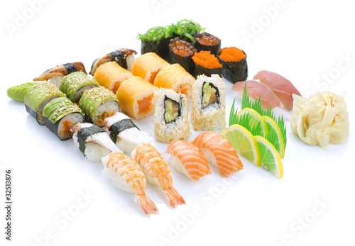 Sushi set over White