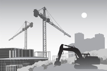Image of the construction site with cranes