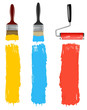 Paint brush and paint roller and paint banners. vector