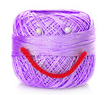 Thread bobbin with smile isolated white