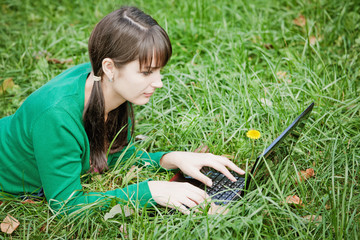 young sexy girl with a laptop
