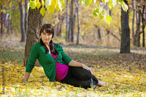 beautiful pregnant girl relaxing in the park