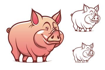 Cartoon pink pig