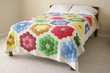 Bed with colorful floral quilt - 32517222