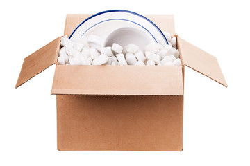 packing dishes in a box