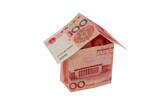 House of the Chinese renminbi money on  white background poster