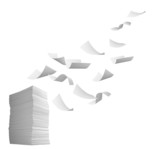 Fototapety stack of papers and curl paper flying in wind office business