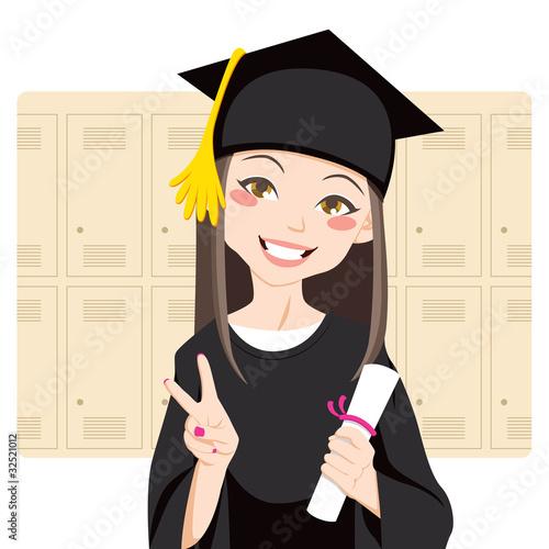 Asian graduate holding diploma