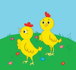 Two cheerful chickens on a glade with colors
