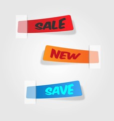 vector colorful labels with tape