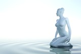 Zen woman in water with white background