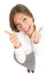 Happy thumbs up success woman isolated