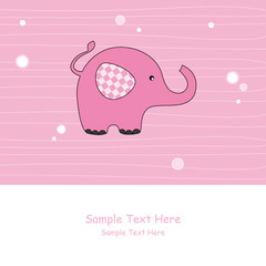 Tarjeta bebe niña. Elefante rosa