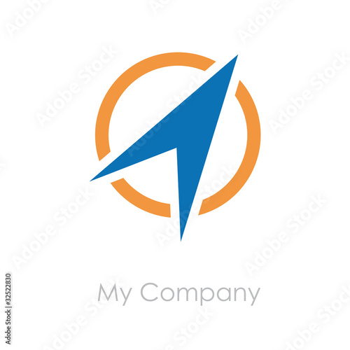 Logo arrow on the circle, compass # Vector