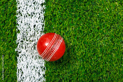 Cricket ball on grass from above.