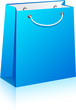 Blue shopping bag.