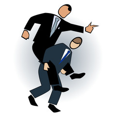 Business symbol-giving the boss a piggy back ride