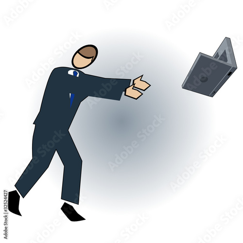 Business symbol-throwing the laptop