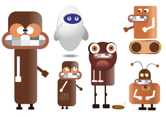 many brown robots