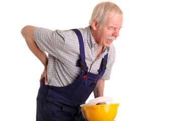 Handwerker mit Rückenschmerzen