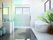 Modern interior of the white bathroom 3D