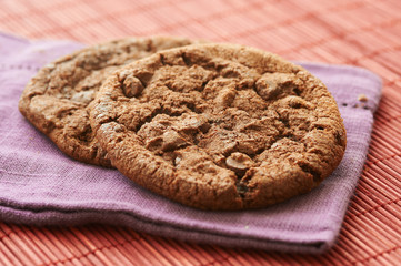 chocolate cookies on napkin