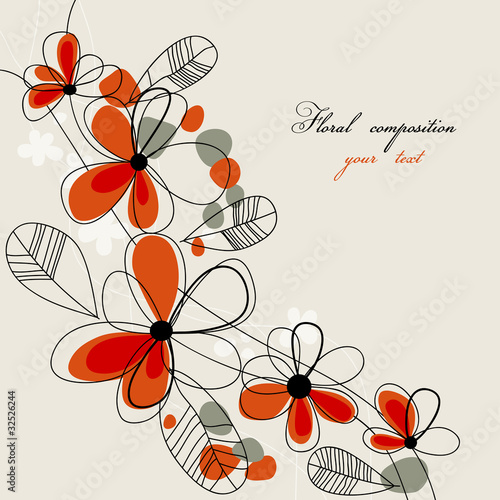 In de dag Abstract bloemen Cute red flowers background