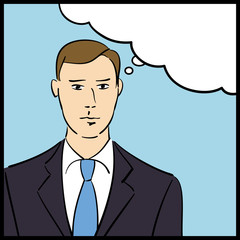 Vector thinking business man in a pop art/comic style