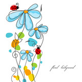 Fototapety Flowers and ladybugs love story