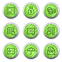 Banking  web icons, green glossy circle buttons