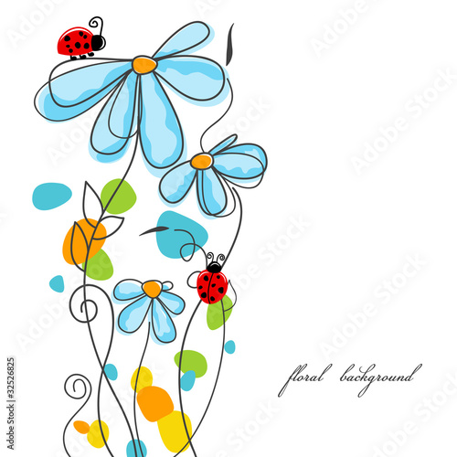 Tuinposter Abstract bloemen Flowers and ladybugs love story