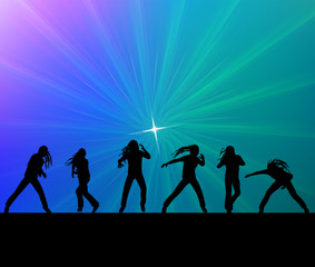 Silhouettes people dancing vector