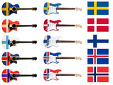 scandinavian flags on electric and acoustic guitar poster