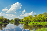 Beautiful landscape wallpaper with flood waters of Narew river.