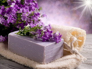 natural flower soap with scrub sponge