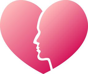 Сердце, разделенное пополам мужским и женским профилем