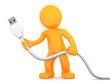 3d person holding USB cable. Isolated on white