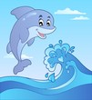 Jumping dolphin with cartoon wave 1